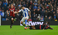 Brighton & Hove Albion's Anthony Knockaert (left) is tackled by Huddersfield Town's Terence Kongolo (right) <br /> <br /> Photographer David Horton/CameraSport<br /> <br /> The Premier League - Brighton and Hove Albion v Huddersfield Town - Saturday 2nd March 2019 - The Amex Stadium - Brighton<br /> <br /> World Copyright © 2019 CameraSport. All rights reserved. 43 Linden Ave. Countesthorpe. Leicester. England. LE8 5PG - Tel: +44 (0) 116 277 4147 - admin@camerasport.com - www.camerasport.com