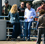 .April 12th 2012 ...Maria Bello & Kiefer Sutherland playing chess smoking laughing while filming his tv show Touch at the Santa Monica Pier. ...AbilityFilms@yahoo.com.805-427-3519.www.AbilityFilms.com..