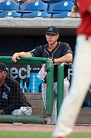 Jupiter Hammerheads manager Kevin Randel (10) in the dugout during a game against the Clearwater Threshers on April 9, 2018 at Spectrum Field in Clearwater, Florida.  Jupiter defeated Clearwater 9-4.  (Mike Janes/Four Seam Images)