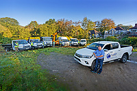 Pictured: Michael Sykes with the fleet of vehicles owned by his company. Wednesday 11 October 2018 <br /> Re: Clydach Construction in Clydach, south Wales, UK.