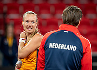 The Hague, The Netherlands, Februari 4, 2020,  Sportcampus , FedCup  Netherlands - Balarus, Dutch team practise, Captain Paul Haarhuis (NED) with Kiki Bertens.<br /> Photo: Tennisimages/Henk Koster