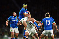Angelo Esposito of Italy claims the ball in the air. Guinness Six Nations match between England and Italy on March 9, 2019 at Twickenham Stadium in London, England. Photo by: Patrick Khachfe / Onside Images