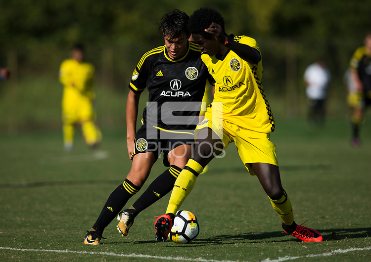 Sep 09, 2017; Obetz, OH, USA; Game action between Crew SC Academy and Crew SC Academy Wolves at EAS Training Center at Obetz.