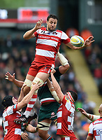 Jeremy Thrush of Gloucester Rugby wins the ball at a lineout. Aviva Premiership match, between Leicester Tigers and Gloucester Rugby on September 16, 2017 at Welford Road in Leicester, England. Photo by: Patrick Khachfe / JMP