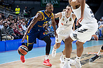 Real Madrid Fabien Causeur and Herbalife Gran Canaria Dj Strawberry during Turkish Airlines Euroleague match between Real Madrid and Herbalife Gran Canaria at WiZink Center in Madrid, 20 November 2018. (ALTERPHOTOS/Borja B.Hojas)