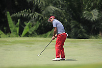 Yuta Ikeda (JPN) in action on the 3rd green during Round 1 of the Maybank Championship at the Saujana Golf and Country Club in Kuala Lumpur on Thursday 1st February 2018.<br /> Picture:  Thos Caffrey / www.golffile.ie<br /> <br /> All photo usage must carry mandatory copyright credit (&copy; Golffile | Thos Caffrey)
