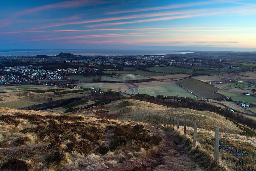 Edinburgh and Arthur's Seat from Caerketton, The Pentland Hills, The Pentland Hills Regional Park, Lothian