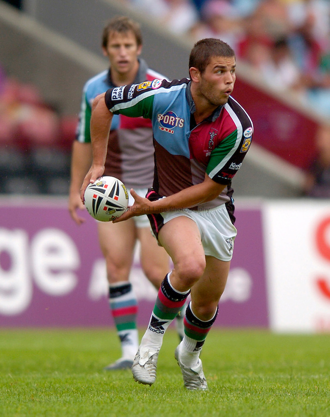 Photo: Richard Lane..Harlequins RL v Hull RL. Engage Super League. 22/07/2006. .Quins' Daniel Heckenberg passes.