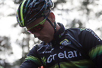 a focused, yet relaxed Sven Nys (BEL/Crelan-AAdrinks) at the start<br /> <br /> 2016 Belgian National CX Championships