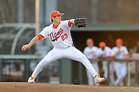 Clemson Tigers  starting pitcher Daniel Gossett #23 delivers a pitch during a game against the Virginia Cavaliers  at Doug Kingsmore Stadium on March 15, 2013 in Clemson, South Carolina. The Cavaliers won 6-5.(Tony Farlow/Four Seam Images).