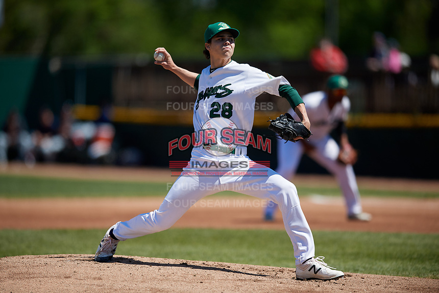 Beloit Snappers starting pitcher Dakota Chalmers (28) delivers a pitch during a game against the Bowling Green Hot Rods on May 7, 2017 at Pohlman Field in Beloit, Wisconsin.  Bowling Green defeated Beloit 6-2.  (Mike Janes/Four Seam Images)