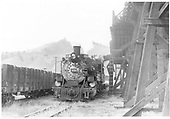 D&amp;RGW #480 coaling up at Sargent coaling trestle with the first train since December 1953.<br /> D&amp;RGW  Sargent, CO  Taken by Krause, John - 9/1954