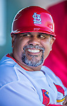 4 March 2013: St. Louis Cardinals third base coach Jose Oquendo sits in the dugout prior to a Spring Training game against the Minnesota Twins at Roger Dean Stadium in Jupiter, Florida. The Twins shut out the Cardinals 7-0 in Grapefruit League play. Mandatory Credit: Ed Wolfstein Photo *** RAW (NEF) Image File Available ***