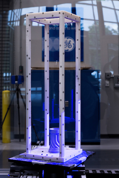 July 6, 2016. Greenville, South Carolina. <br />  In the Advanced Manufacturing Works building, a Blue Light, or structured light, machine creates a 3D high resolution scan of the flex tip of a fuel nozzle. Using advanced technology, the machine can create an incredibly highly detailed scan of the product, allowing the engineers to accurately measure the tolerances of the part after manufacture. <br />  At the General Electric Gas Turbine factory, engineers  design, produce, test and repair gas turbines for generating electricity. These turbines weigh more than 900,000 pounds and can create internal combustion temperatures up to 2,900 degrees F. Depending on the model, one of the GE turbines can produce enough electricity for half a million American households.