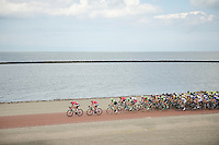 peloton over the Brouwersdam<br /> <br /> 3rd World Ports Classic 2014<br /> stage 1: Rotterdam - Antwerpen 195km