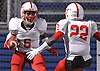 Elyjah Campbell #6 of Freeport, left, gets congratulated by Jahred Wray #22 after rushing for a touchdown in the Nassau County varsity football Conference I final against Farmingdale at Hofstra University on Thursday, Nov. 17, 2016.