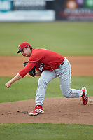 Lakewood BlueClaws starting pitcher Damon Jones (55) follows through on his delivery against the Kannapolis Intimidators at Kannapolis Intimidators Stadium on April 8, 2018 in Kannapolis, North Carolina.  The Intimidators defeated the BlueClaws 4-3 in game two of a double-header.  (Brian Westerholt/Four Seam Images)