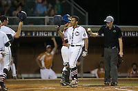 Theodore Hoffman (16) of the High Point-Thomasville HiToms crosses home plate after hitting a home run against the Asheboro Copperheads at Finch Field on June 12, 2015 in Thomasville, North Carolina.  The HiToms defeated the Copperheads 12-3. (Brian Westerholt/Four Seam Images)