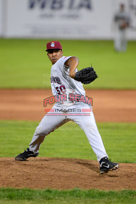 Mahoning Valley Scrappers pitcher Manuel Carmona #50 during a game against the Batavia Muckdogs on June 21, 2013 at Dwyer Stadium in Batavia, New York.  Batavia defeated Mahoning Valley 3-2.  (Mike Janes/Four Seam Images)
