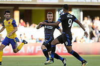 San Jose, CA - Saturday July 29, 2017: Tommy Thompson, Danny Hoesen during a Major League Soccer (MLS) match between the San Jose Earthquakes and Colorado Rapids at Avaya Stadium.