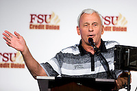 TALLAHASSEE, FLA. 2/6/13-FSUSIGNDAY020613 CH-Florida State University Offensive Line Coach Rick Trickett talks about the 2013 recruiting class during the national signing day War Party, Feb. 6, 2013 in Tallahassee..COLIN HACKLEY PHOTO