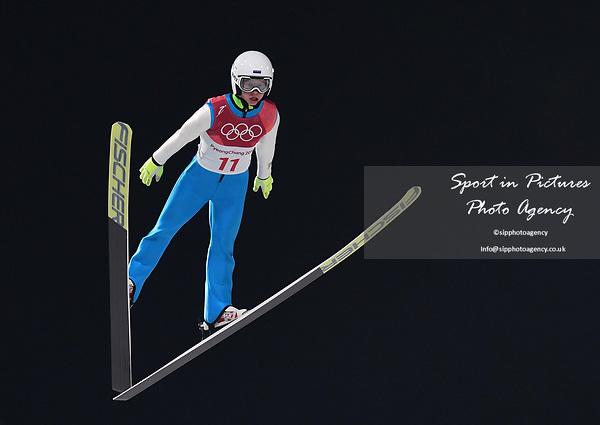 Artti Aigro (EST). Mens normal hill individual. Qualification. Ski jumping. Alpensia ski jump centre. Pyeongchang2018 winter Olympics. Alpensia. Pyeongchang. Republic of Korea. 08/02/2018. ~ MANDATORY CREDIT Garry Bowden/SIPPA - NO UNAUTHORISED USE - +44 7837 394578