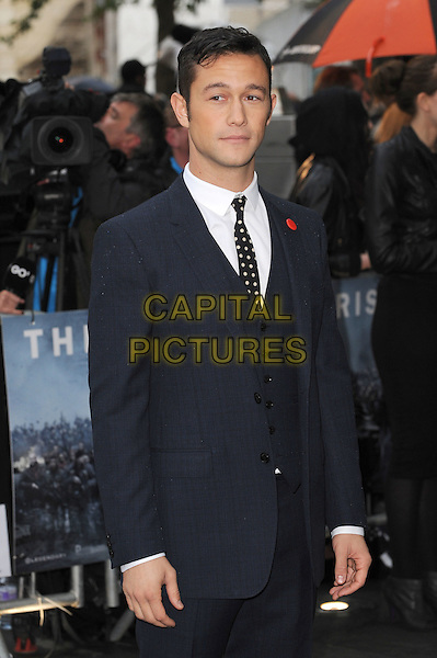 Joseph Gordon-Levitt.'The Dark Knight Rises' European Premiere at The Odeon and Empire cinema, Leicester Square, London, England..18th July 2012.half length blue waistcoat black suit white shirt polka dot .CAP/BEL.©Tom Belcher/Capital Pictures.