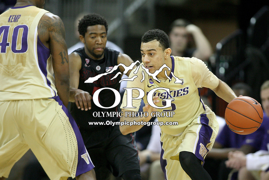 February 12, 2014:   Washington's Nigel Williams-Goss against Stanford.  Washington defeated Stanford 64-60 at Alaska Airlines Arena in Seattle, Washington.