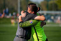 Kansas City, MO - Sunday September 3, 2017: Vlatko Andonovski, Nicole Barnhart during a regular season National Women's Soccer League (NWSL) match between FC Kansas City and Sky Blue FC at Children's Mercy Victory Field.