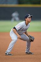 Pulaski Yankees third baseman Allen Valerio (25) on defense against the Burlington Royals at Burlington Athletic Park on August 6, 2015 in Burlington, North Carolina.  The Royals defeated the Yankees 1-0. (Brian Westerholt/Four Seam Images)