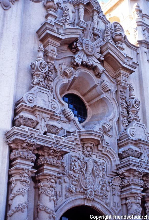 Balboa Park:  Casa del Prado entrance detail, 1915.  Architect Bertram Goodhue. Churriqueresque.
