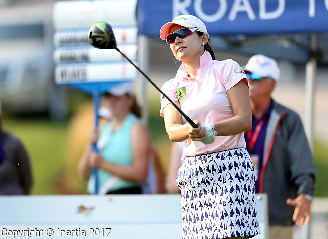 SIOUX FALLS, SD - SEPTEMBER 3: Paola Moreno watches her tee shot on the first hole during the final round of the 2017 Great Life Challenge Symetra Tour stop at Willow Run in Sioux Falls.  (Photo by Dave Eggen/Inertia)