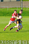 Daingean Uí Chúis Johnny B. Brosnan tackling Austin Stack Greg Horan during the CSFL Div. 1 match in Dingle on Saturday evening.