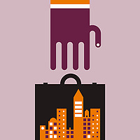 Large hand reaching for briefcase with abstract cityscape inside ExclusiveImage ExclusiveArtist