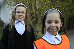 Israel, Bnei Brak, Hasidic boys of the the Premishlan congregation celebrating Purim