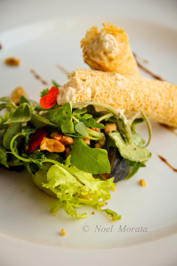 Salad greens flowers and nuts with stuffed and fried cannelloni