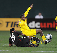 Columbus Crew midfielder Emmanuel Ekpo (17) shields the ball against DC United midfielder Clyde Simms (19)    DC United defeated The Columbus Crew  3-1 at the home season opener, at RFK Stadium, Saturday March 19, 2011.