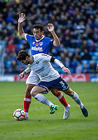 The two captains Joe Jacobson of Wycombe Wanderers and Gary Roberts of Portsmouth during the FA Cup 1st round match between Portsmouth and Wycombe Wanderers at Fratton Park, Portsmouth, England on the 5th November 2016. Photo by Liam McAvoy.