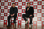 Former Barcelona player Sergi Samper and Hiroshi Mikitani, owner of Vissel Kobe, during a press conference to join Japan's Vissel Kobe in Tokyo, Japan on March 7, 2019. (Photo by Pasya/AFLO)