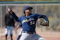 Milwaukee Brewers starting pitcher Joaquin De La Cruz (54) during a Minor League Spring Training game against the Colorado Rockies at Salt River Fields at Talking Stick on March 17, 2018 in Scottsdale, Arizona. (Zachary Lucy/Four Seam Images)