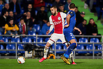 Nemanja Maksimovic of Getafe FC and Hakim Ziyech of AFC Ajax during UEFA Europa League match between Getafe CF and AFC Ajax at Coliseum Alfonso Perez in Getafe, Spain. February 20, 2020. (ALTERPHOTOS/A. Perez Meca)