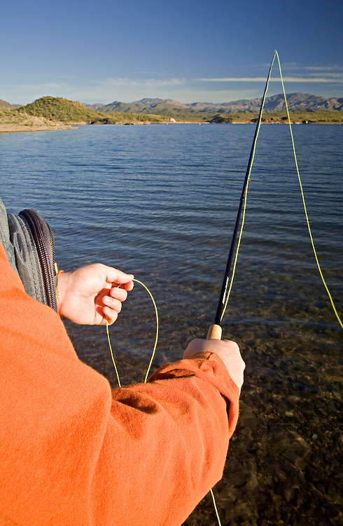 Hands of a fly fisherman fishing along the shore of Lake Pleasant in Arizona