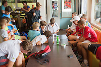 Netherlands, Rotterdam August 07, 2015, Tennis,  National Junior Championships, NJK, TV Victoria, Kids playing cards in the club house<br /> Photo: Tennisimages/Henk Koster