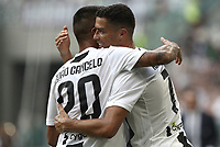 Calcio, Serie A: Juventus - Sassuolo, Turin, Allianz Stadium, September 16, 2018.<br /> Juventus' Cristiano Ronaldo (r) celebrates after scoring his second goal with his teammate Joao Cancelo (l) during the Italian Serie A football match between Juventus and  Sassuolo at Torino's Allianz stadium, September 16, 2018.<br /> UPDATE IMAGES PRESS/Isabella Bonotto