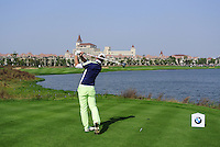 Marcel Siem (GER) tees off the 9th tee during Sunday's Final Round of the 2014 BMW Masters held at Lake Malaren, Shanghai, China. 2nd November 2014.<br /> Picture: Eoin Clarke www.golffile.ie