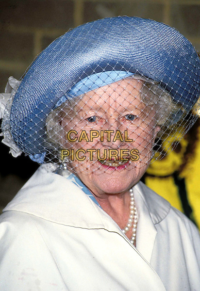 HM THE QUEEN MOTHER..Ref: 026..headshot, portrait, blue hat, veil, royalty, dead deceased..www.capitalpictures.com..sales@capitalpictures.com..©Capital Pictures