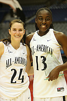 SAN ANTONIO, TX - APRIL 3: Sara James and Chiney Ogwumike during the WBCA All-Star Game on April 3, 2010 at the Alamo Dome in San Antonio, Texas.