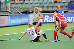 The Hague, Netherlands, June 10: Lydia Haase #12 of Germany slides in and tries to score during the field hockey group match (Women - Group B) between USA and Germany on June 10, 2014 during the World Cup 2014 at Kyocera Stadium in The Hague, Netherlands. Final score 1-3 (0-0) (Photo by Dirk Markgraf / www.265-images.com) *** Local caption *** Lydia Haase #12 of Germany, Eileen Hoffmann #11 of Germany