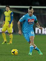 durante l'incontro di calcio di Serie A  Napoli Chievo allo  Stadio San Paolo  di Napoli , 25 Gennaio e 2014<br /> Foto Ciro De Luca