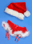 Red fluffy Christmas women sexy skirt and a hat romantic lingerie with white fur Isolated on blue background